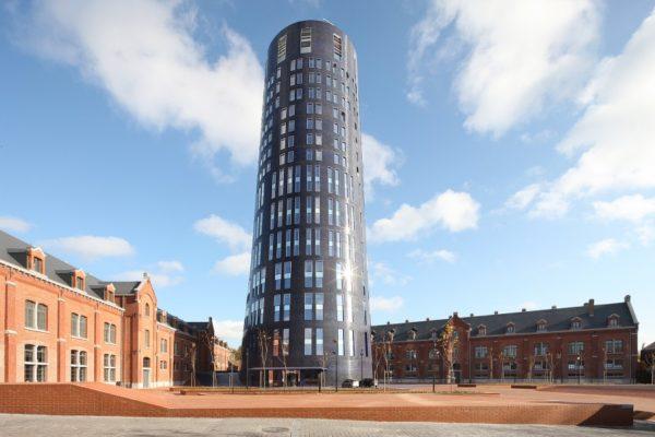 Blue brick circular tower
