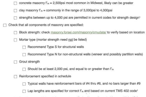 masonry checklist